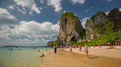 Sunny day famous krabi tourist crowd beach panorama hd thailand Stock Footage