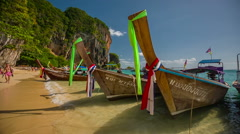 Sunny day tourist boat park famous beach krabi island hd thailand Stock Footage