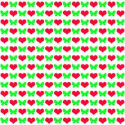 Many hearts with butterflies on white Stock Illustration