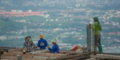 Phuket town construction workers panorama hd thailand Stock Footage