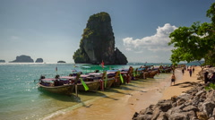 Summer day krabi island tourist boats beach park panorama hd thailand Stock Footage