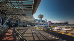 Summer day minsk airport front road walk panorama 4k time lapse belarus Stock Footage