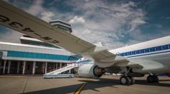 Summer sky minsk international airport jet plain panorama 4k belarus Stock Footage