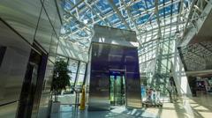 Minsk international airport interior inside panorama 4k time stock belarus Stock Footage