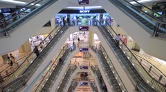View of shoppers in Suria KLCC Mall in Petronas Stock Footage