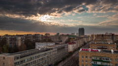 Summer sunset storm sky city roof top panorma 4k time lapse belarus Stock Footage