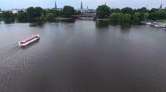 Hamburg Alster Lake Aerial Views Stock Footage