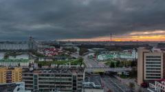 Storm sunset sky roof top city center panorama 4k time lapse minsk belarus Stock Footage
