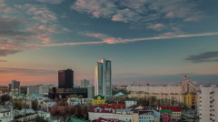 Sunset rainy roof top city center panorama 4k time lapse minsk belarus Stock Footage