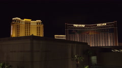 4K ES: Las Vegas Skyline Features Treasure Island & Palazzo Hotel Casinos Stock Footage