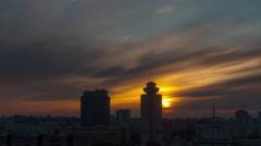 Minsk city center sunset sky roof top panorama 4k time lapse belarus Stock Footage