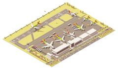 Vector isometric low poly airport terminal building with control tower, landing - stock illustration