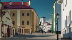 Summer day minsk city old town street walk 4k time lapse minsk belarus Stock Footage
