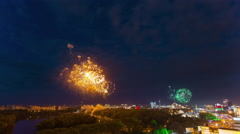 Holiday night fireworks city roof top panorama 4k time lapse minsk belarus Stock Footage