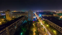 night summer traffic street roof top panorama 4k time lapse minsk belarus - stock footage