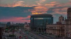 Sunset main train station area traffic panorama 4k time lapse minslk belarus Stock Footage