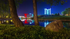Summer night river bay minsk center panorama 4k time lapse minsk belarus Stock Footage