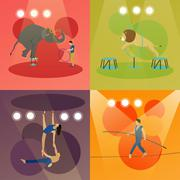 Vector set of circus concept banners. Acrobats and artists perform show in arena Piirros