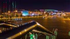 minsk arena night illumination panorama 4k time lapse minsk belarus - stock footage