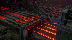 Steel factory hot metal conveyor inside view panorama 4k time lapse belarus Stock Footage