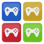Set of four square icons with gamepad Stock Illustration
