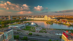 sunset minsk center river bay roof top panorama 4k time lapse belarus - stock footage