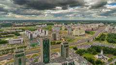 Storm sky summer day minsk city aerial panorama 4k time lapse belarus Stock Footage