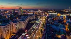 Sunset minsk city nemiga traffic street aerial panorama 4k time lapse belarus Stock Footage