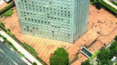 Tokyo - Aerial view with business people around office building during brake. Stock Footage