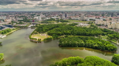 Minsk summer city central victory park aerial panorama 4k time lapse belarus Stock Footage