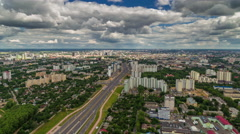Summer day traffic street aerial panorama 4k time lapse belarus Stock Footage