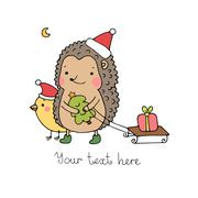 A hedgehog, a bird, a gift and a Christmas tree. - stock illustration