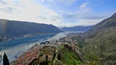 KOTOR TOWN BAY FROM FORTRESS KOTOR MONTENEGRO Stock Footage