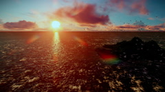 Rough sea and timelapse clouds, sunrise, camera fly over isolated island, sound  - stock footage