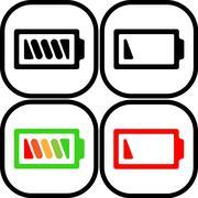 Set of battery icon - vector, flat design. Eps 10 Stock Illustration