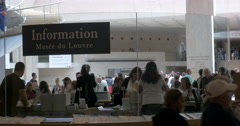 Information desk in the Louvre Museum Stock Footage