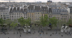 View to Paris from upper floor of Pompidou Centre - stock footage