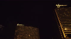 4K ES: The Wynn & Encore Luxury Hotels and Casinos Fill the Las Vegas Skyline Stock Footage