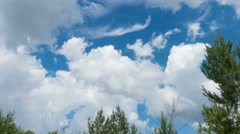 Time lapse clip of Beautiful white fluffy clouds over blue sky Stock Footage