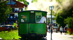 Nostalgic Steam Train in Prien Chiemsee lake Germany From Prien to Aschau - stock footage