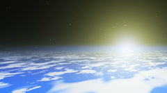 Ufo flying saucer, ufo speed up on planet, space stars sun Stock Footage