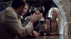 Group of friends makes a toast, smiles and drinks wine in rural farm house Stock Footage