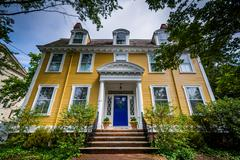 Beautiful yellow house in College Hill, Providence, Rhode Island. Stock Photos
