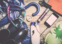Set of travel accessory for rainy season Stock Photos