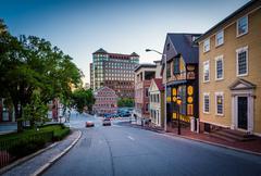 Buildings along Thomas Street, in Providence, Rhode Island. Stock Photos