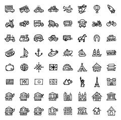 black and white hand drawn icons - TRANSPORTATION & ARCHITECTURE - stock illustration