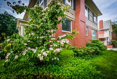 Gardens and house in the College Hill neighborhood, in Providence, Rhode Isla Stock Photos