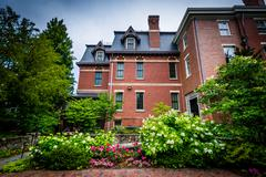 Gardens outside the Brown University Alumni Association Building on the campu Stock Photos