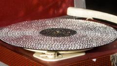 Diamond crystals gramophone music party club vinyl Stock Footage