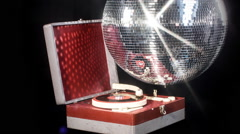 gramophone music party club record player discoball - stock footage